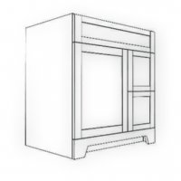 """Vanity 30""""R - Single Sink - one door, two drawers on RIGHT"""